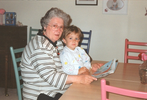 Scotty reads to Grandma Lois 1993